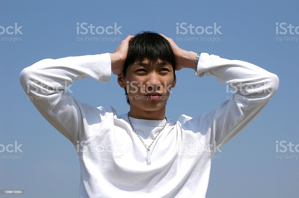 Worries Young Asian Man royalty-free stock photo