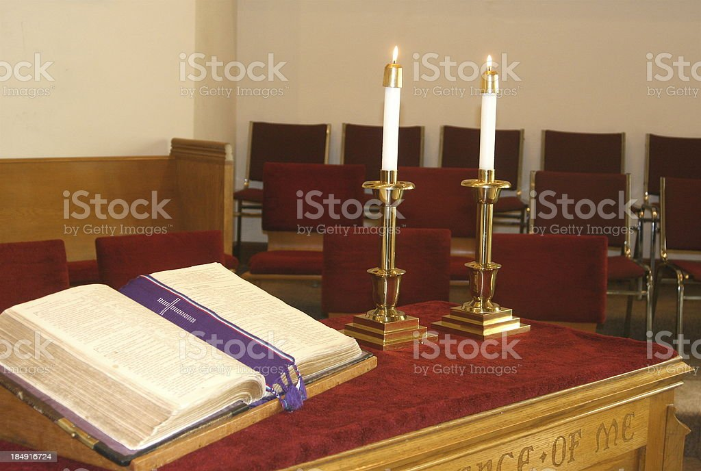 Worship Altar in Church royalty-free stock photo