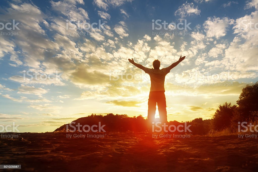 Worship and praise stock photo