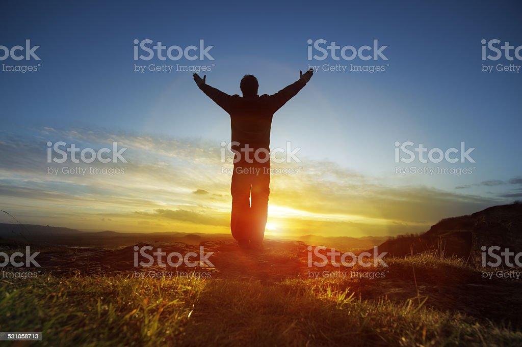 Worship and praise stock photo