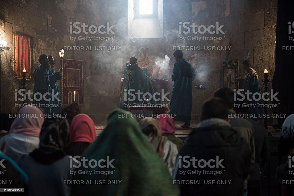 Worship at Tatev Monastery in Armenia stock photo