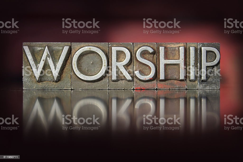 Worship Letterpress stock photo