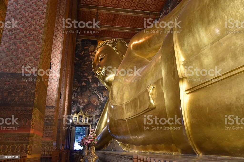 Worship Reclining Buddha stock photo