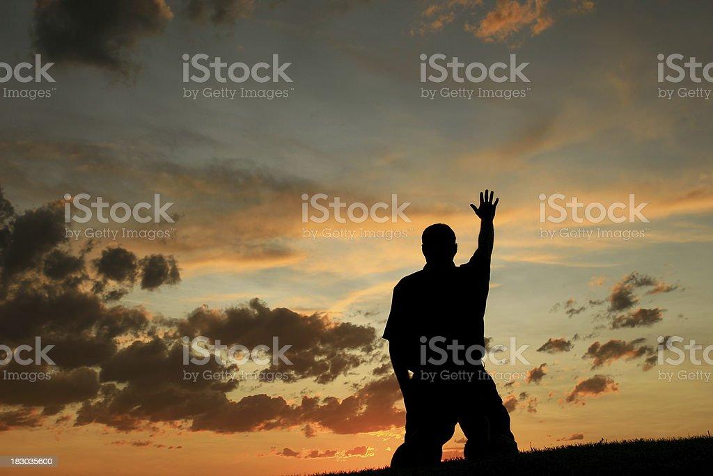 Worship Silhouette royalty-free stock photo