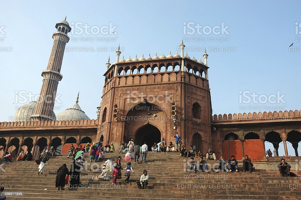 Worshipers are walking near Jama Masjid Mosque,Old Delhi,India royalty-free stock photo