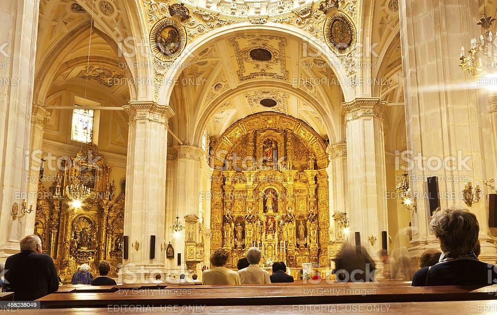 Worshipers during mass in San Lorenzo church, Burgos, Spain stock photo