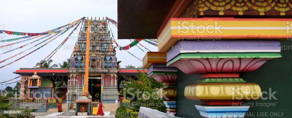 Worshipper at Sri Siva Subramaniya Hindu temple in Nadi Fiji stock photo