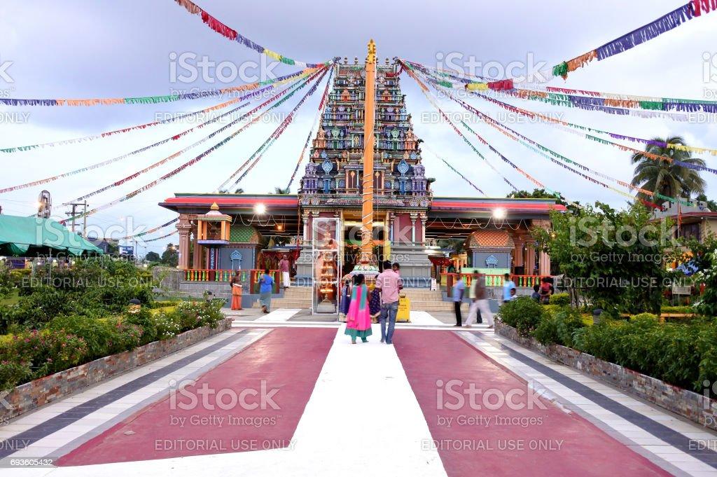 Worshippers at Sri Siva Subramaniya Hindu temple in Nadi Fiji stock photo