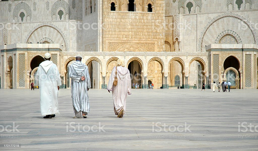 Worshippers Walk Towards Hassan II Mosque, Casablanca, Morocco royalty-free stock photo