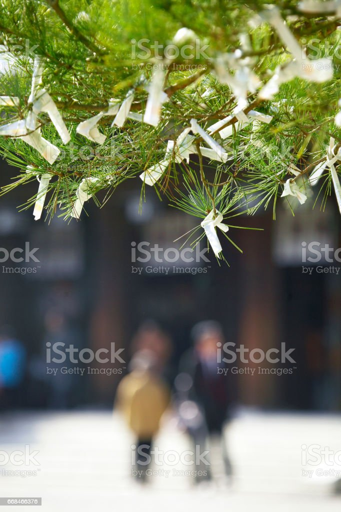 Worshippers with Omikuji stock photo