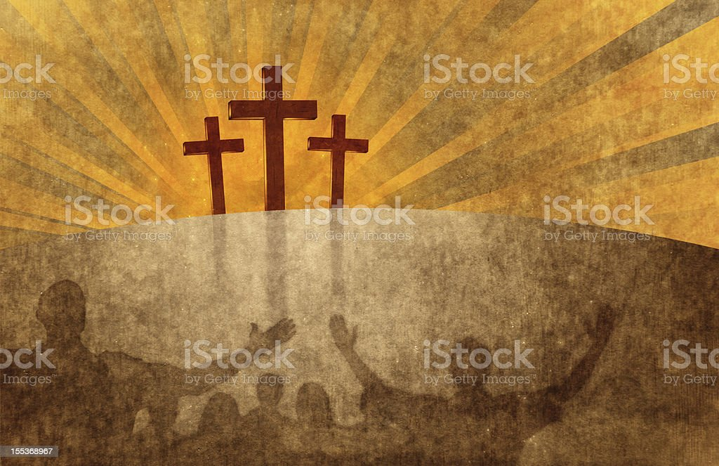 Worshipping At The Cross stock photo