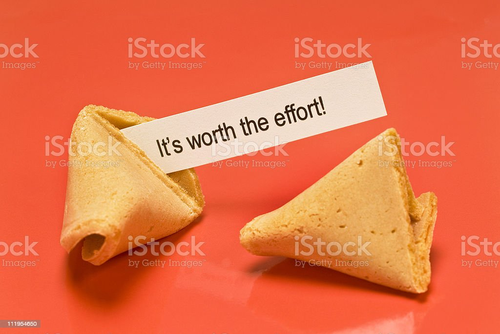 Worth The Effort Fortune Cookie stock photo