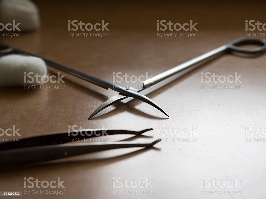 Wound dressing instruments stock photo
