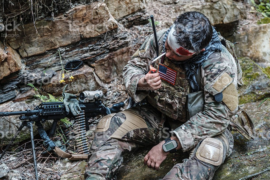 Wounded army ranger stock photo