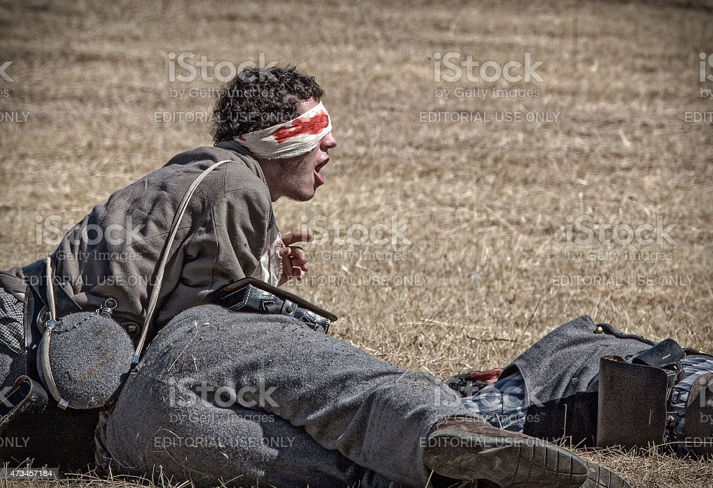 Wounded Confederate Soldier stock photo