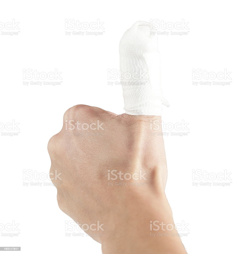 wounded human hand with dressing material royalty-free stock photo