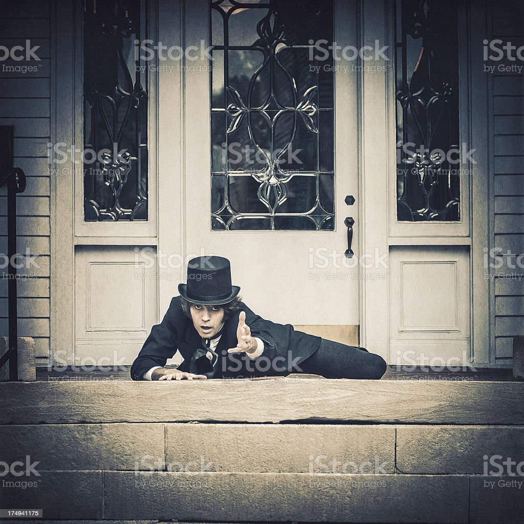 Wounded man in the vintage dress looking for help (III) royalty-free stock photo