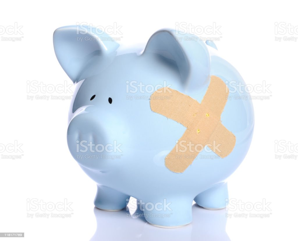 Wounded piggy bank royalty-free stock photo