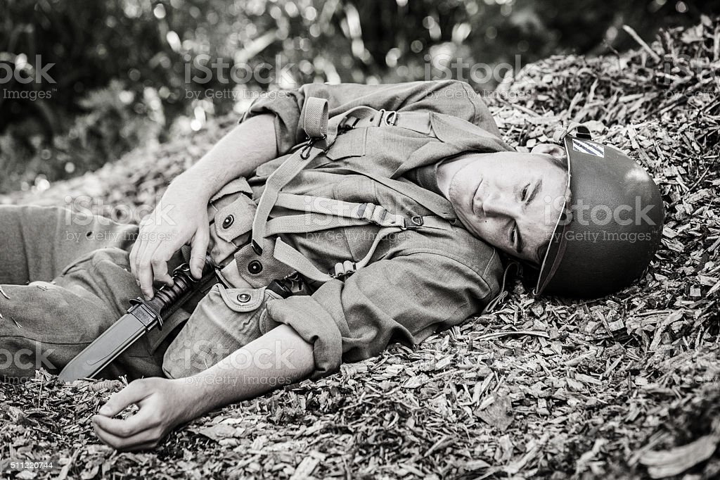 Wounded WWII Soldier stock photo