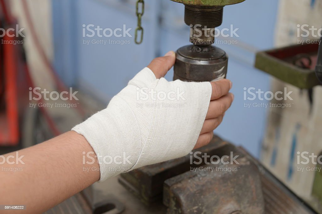 wound,injuries, dressing,work accident stock photo