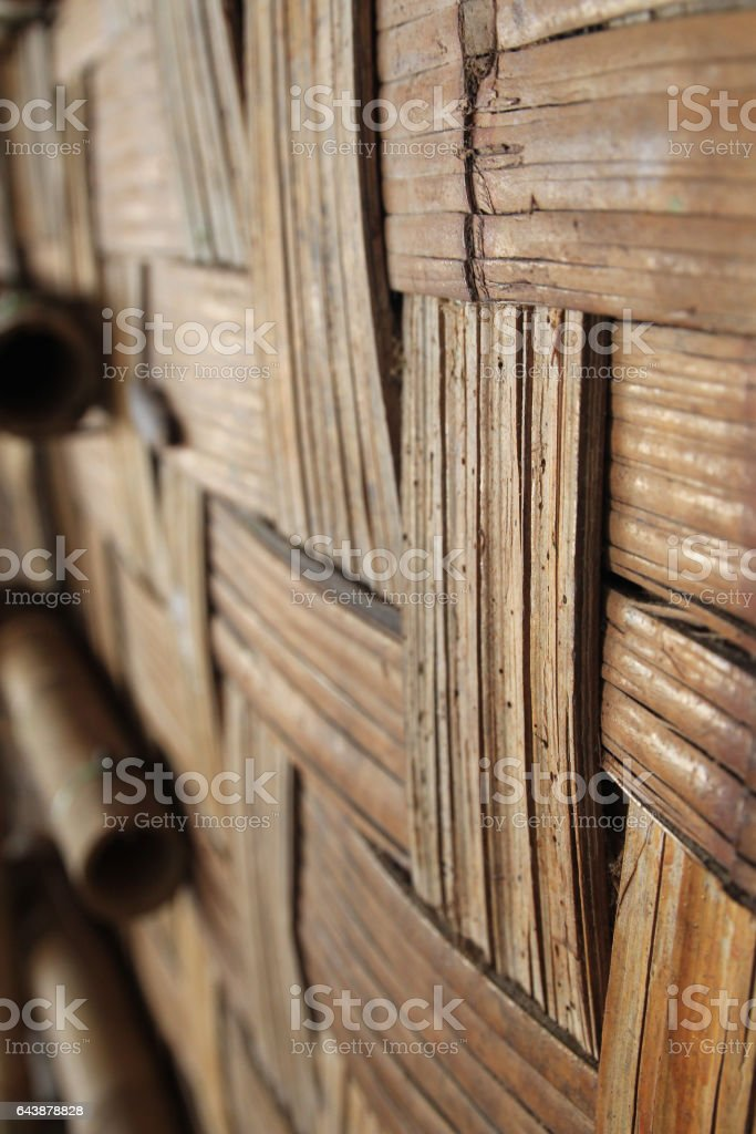 Woven bamboo wood stock photo