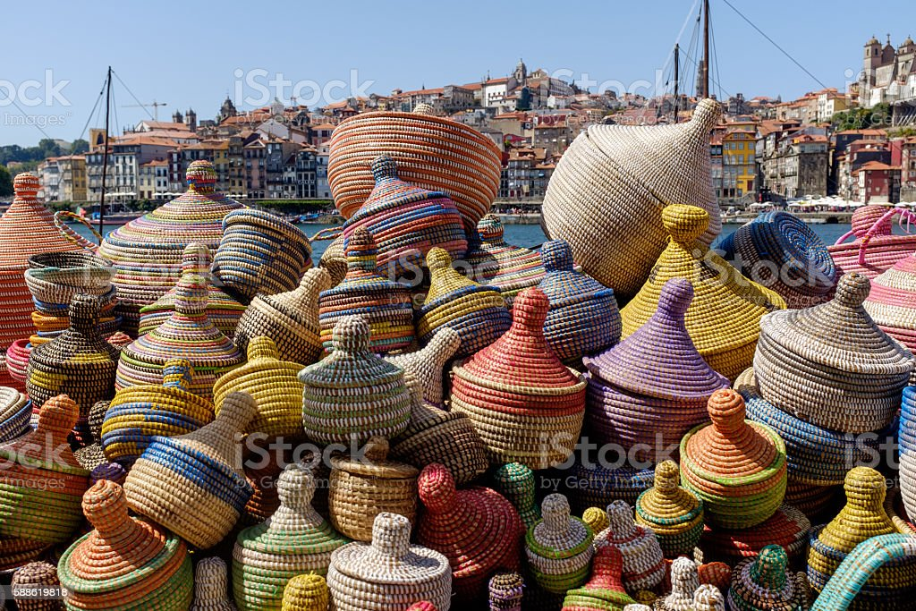 Woven Baskets For Sale on Douro River, Porto stock photo