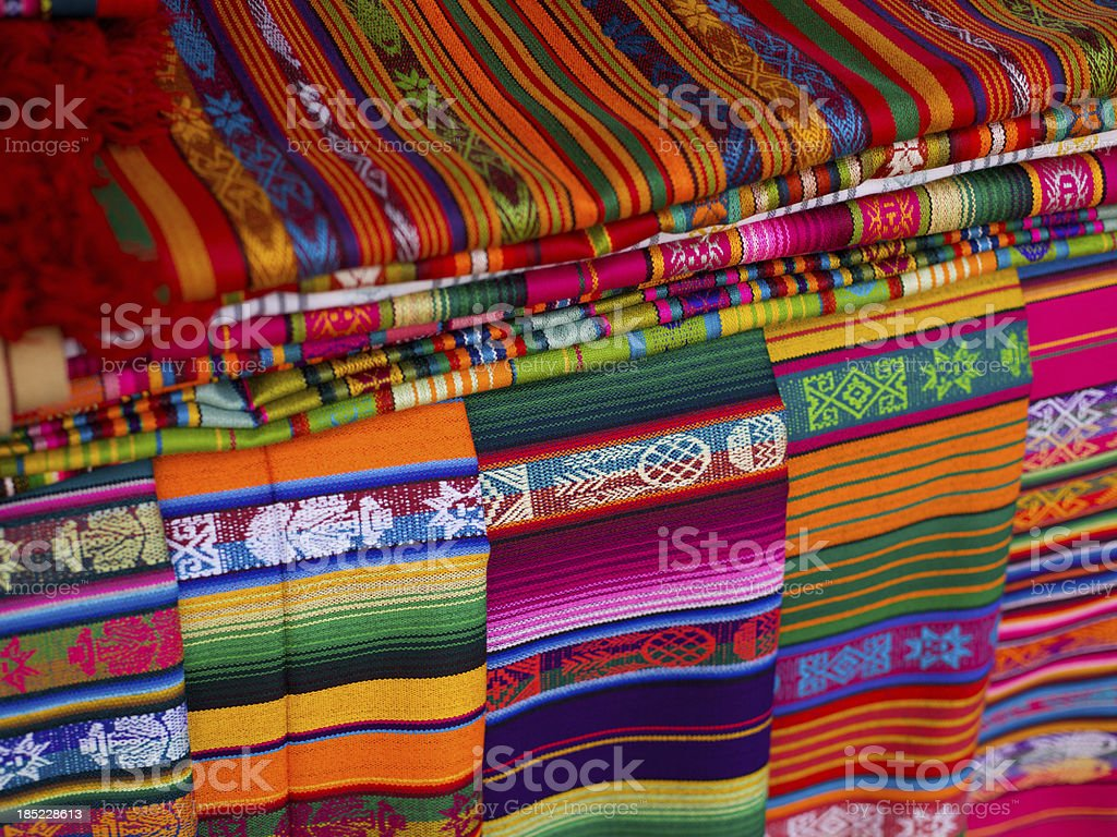 Woven blankets for sale in Santa Fe, New Mexico royalty-free stock photo