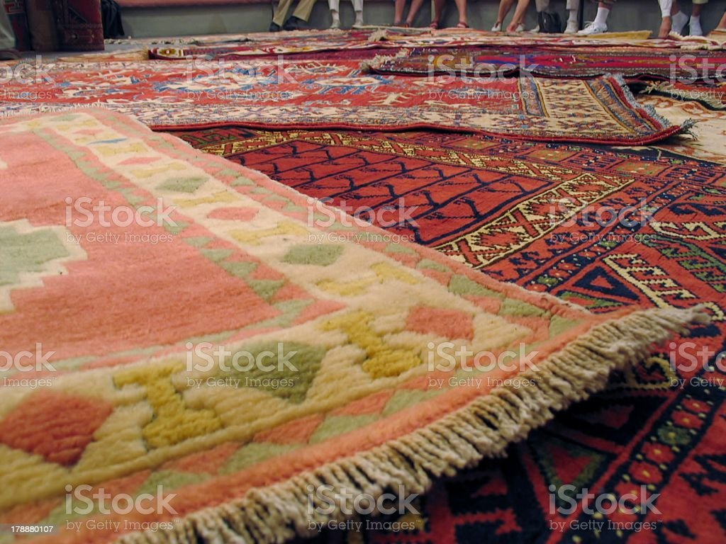 Woven Carpets at Carpet Store - Turkey royalty-free stock photo