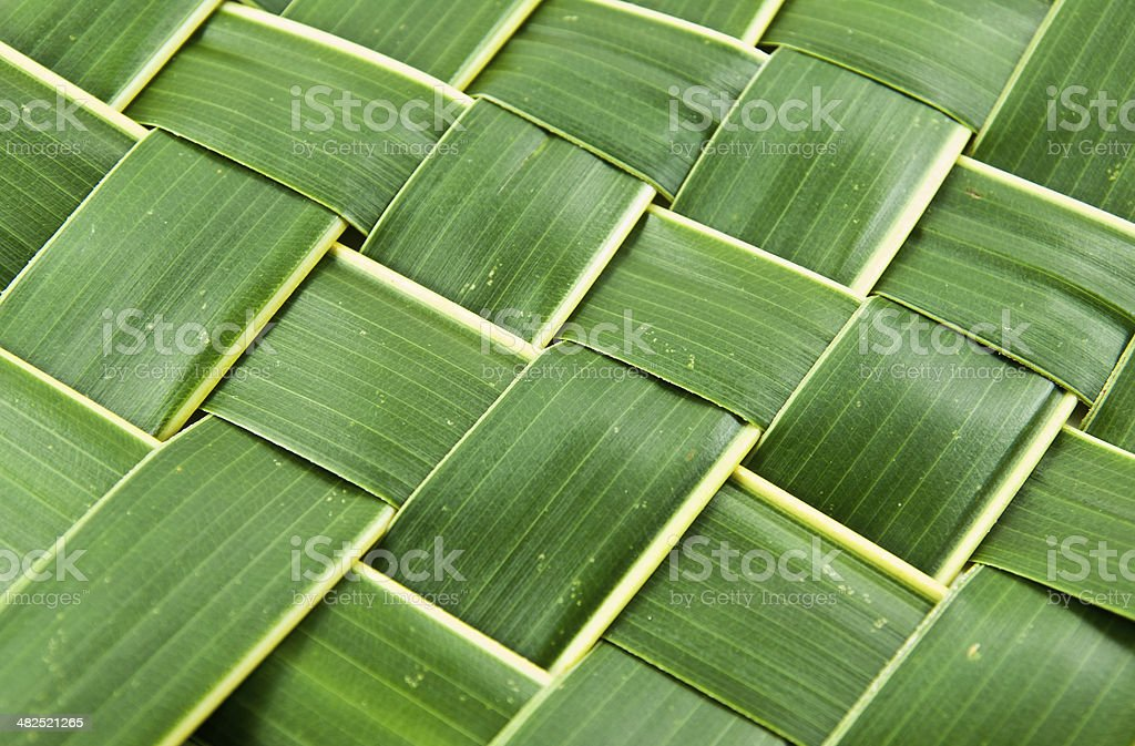 Woven coconut leaves texture royalty-free stock photo
