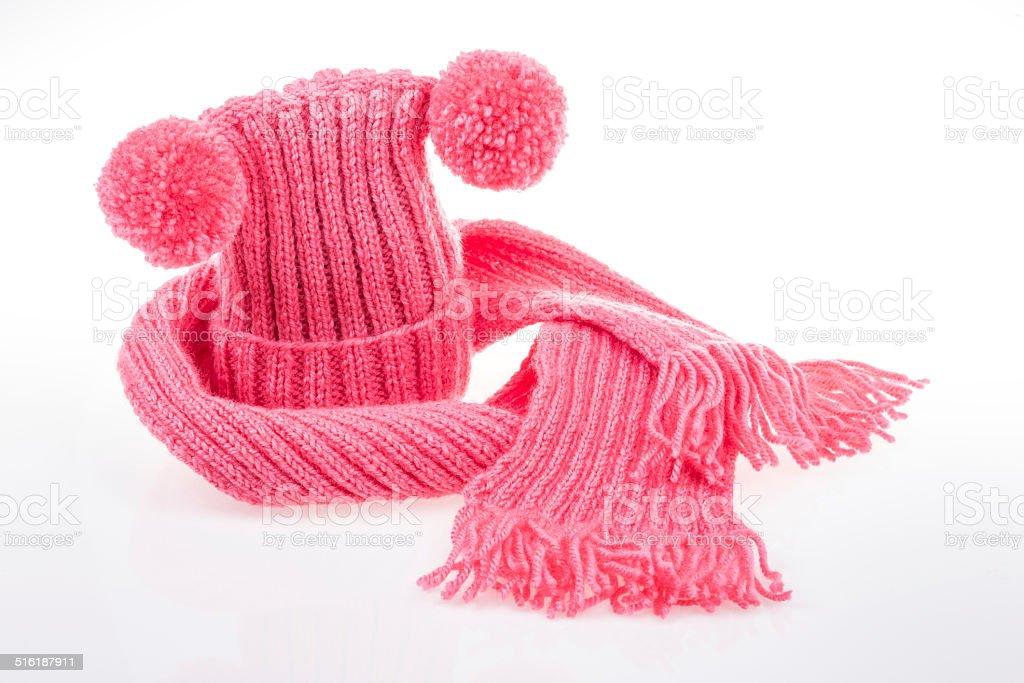 woven hat and scarf stock photo