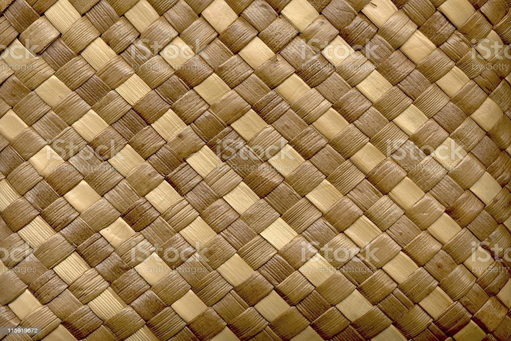 woven palm leaves in tan and brown stock photo