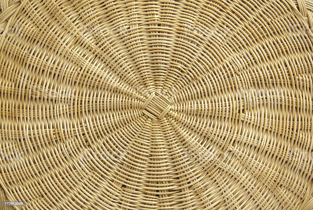woven reed mat background-radial design royalty-free stock photo