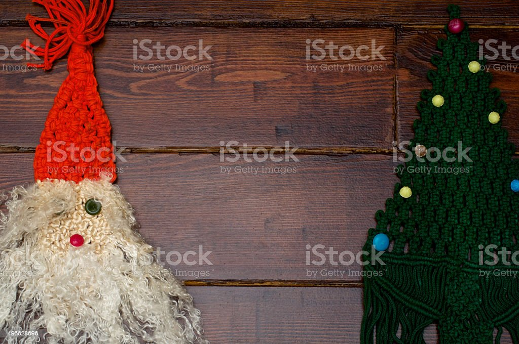 Woven Santa Claus and Christmas tree stock photo