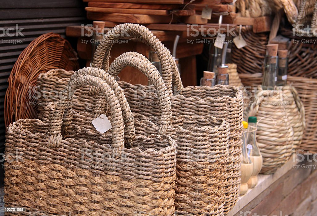 Woven shopping bag royalty-free stock photo