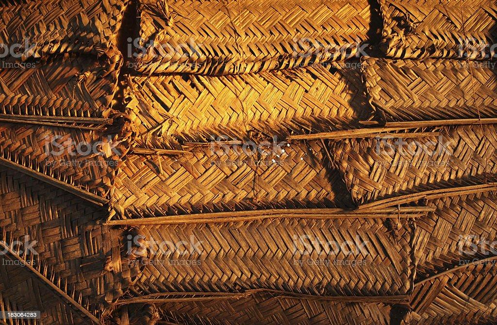 Woven shutters on a Samoan fale stock photo
