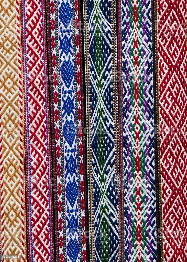 Woven traditional folk belts stock photo