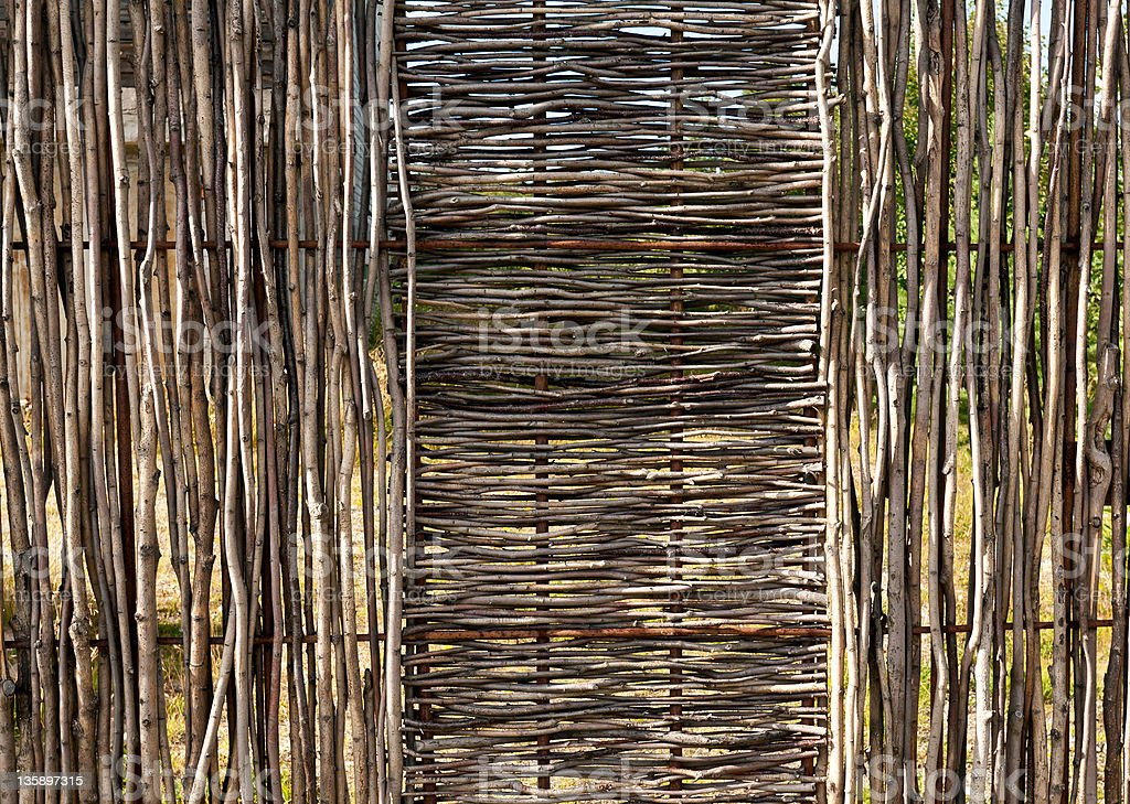 woven wooden fence stock photo