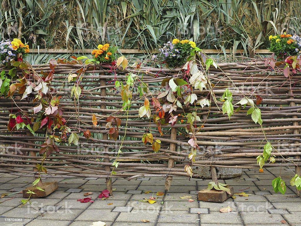 Malha Salgueiro de madeira Vedação foto de stock royalty-free
