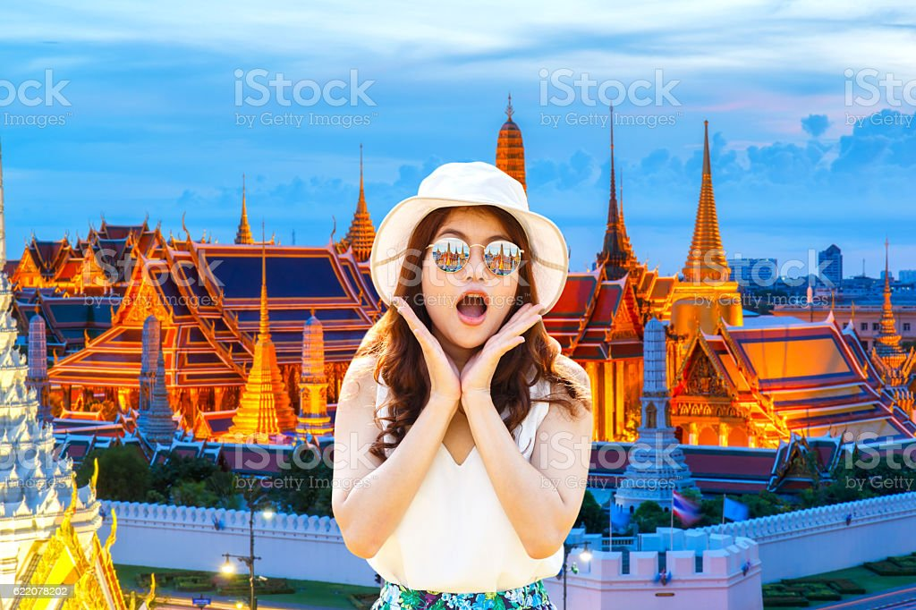 Wow. Close up portrait young asian woman stock photo