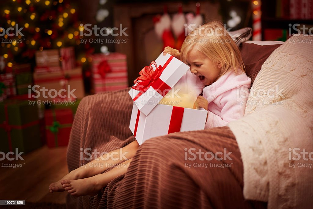 Wow! My present is amazing! stock photo