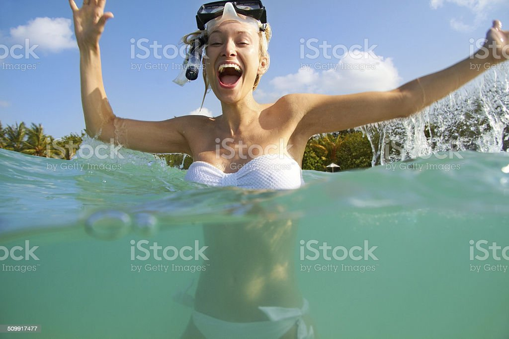 Wow! The water is fantastic! stock photo