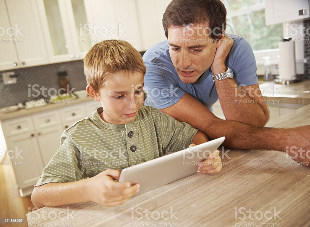 Wow, this tablet is awesome! royalty-free stock photo
