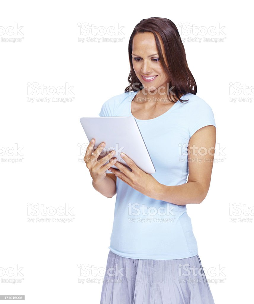 Wow, this tablet is great! royalty-free stock photo