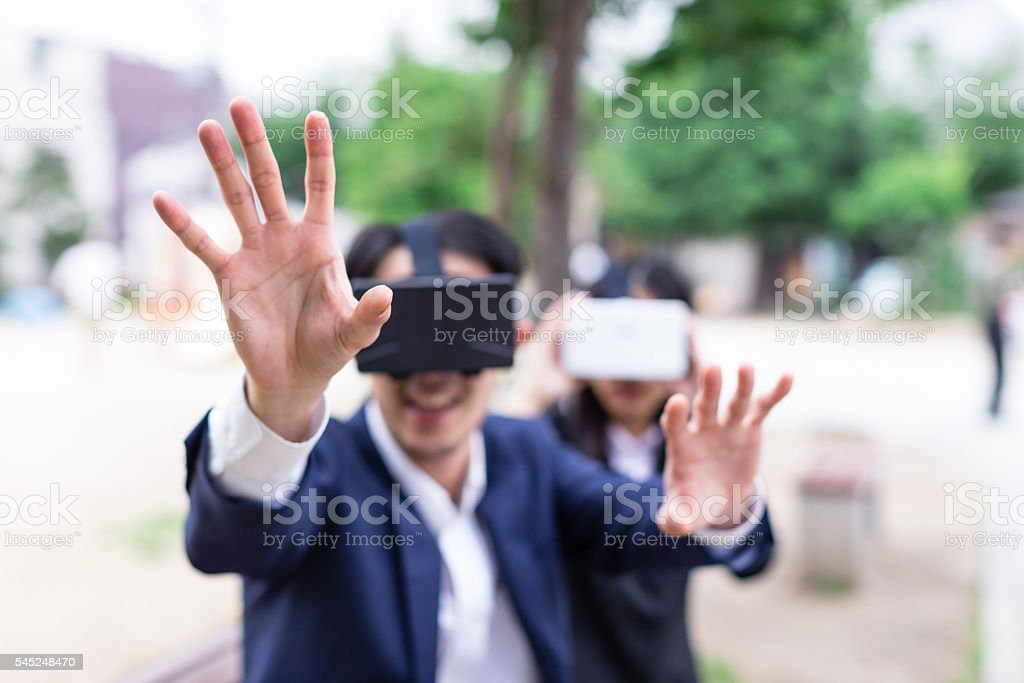 WoW! Virtual Reality Consoles are Great Fun. stock photo