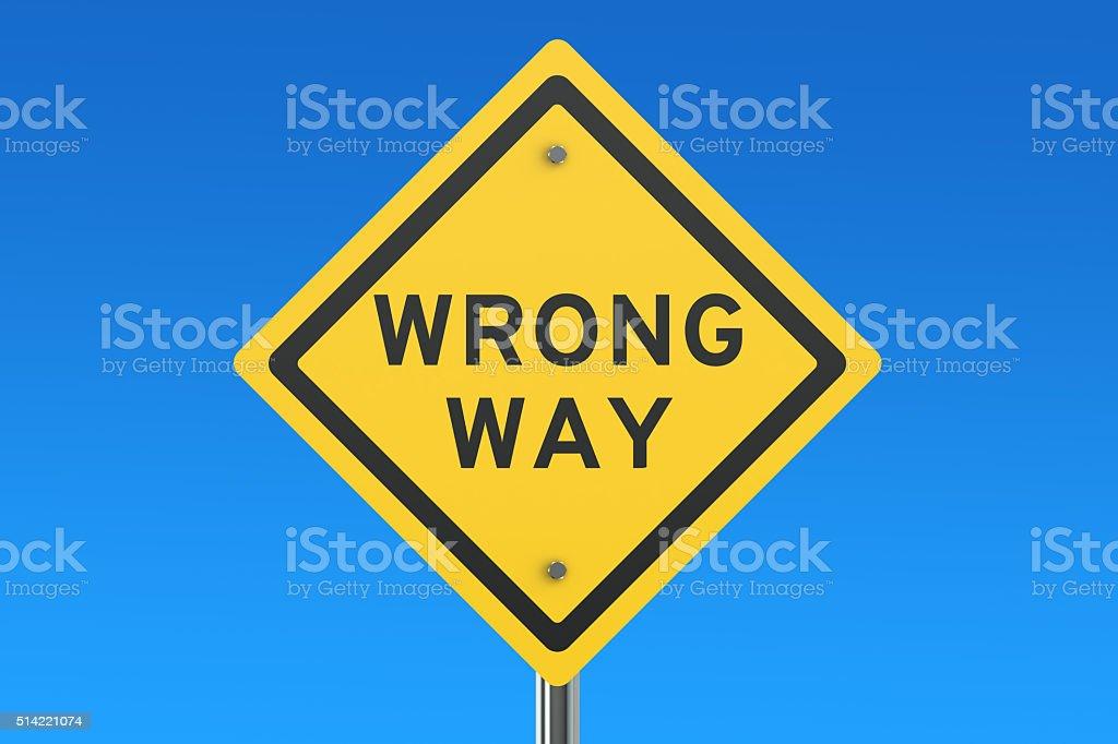 Wrang Way road sign stock photo
