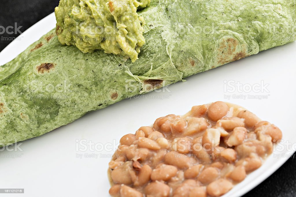 Wrap, Guacamole And Beans royalty-free stock photo