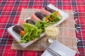 wrap salad roll on the table.