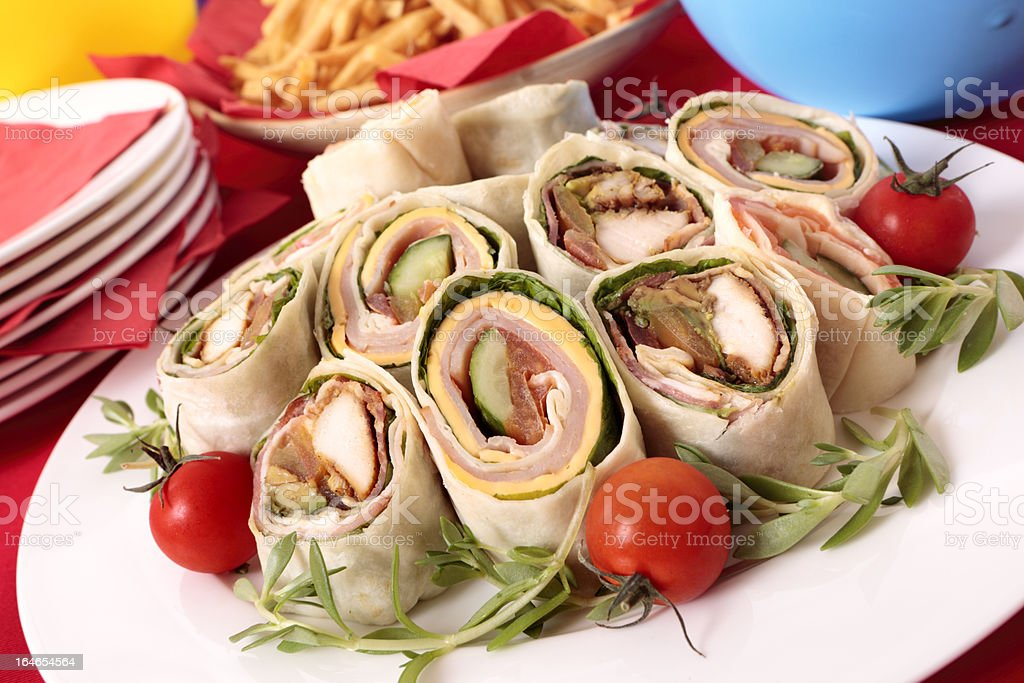 Wrap sandwiches for party food royalty-free stock photo