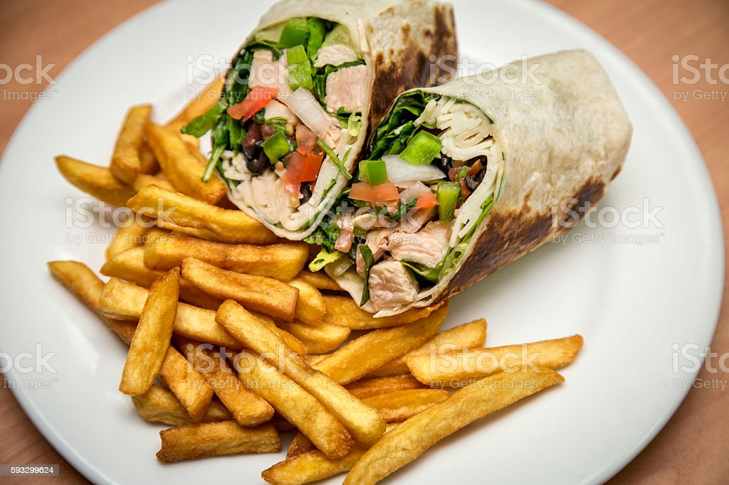 Wrap sandwiches with fries stock photo