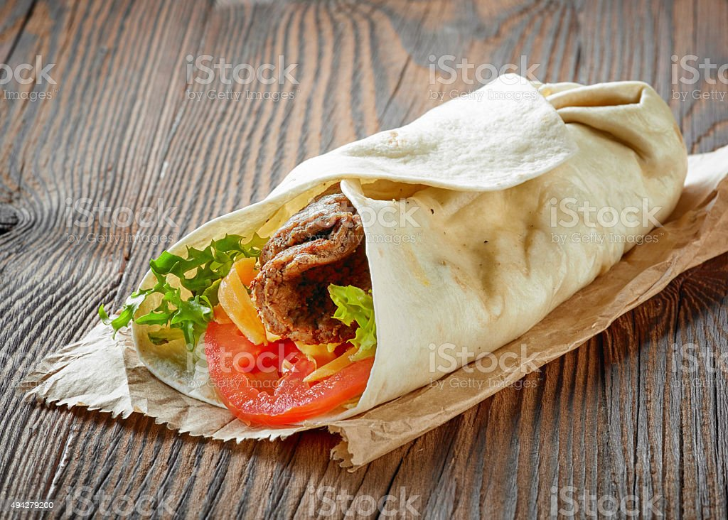 wrap with beef and vegetables stock photo